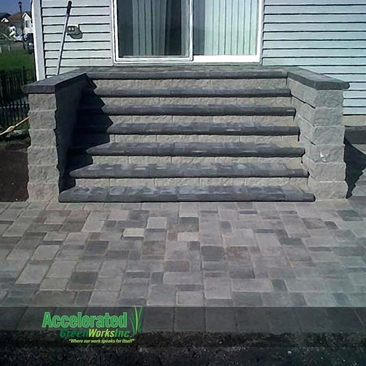 Paver Patio Steps Designs Versa Monumental Steps Lead From Mid Level Patio Door To Blend With New Patio Paver Patio Steps Patio Stairs Patio Stones Patio Steps