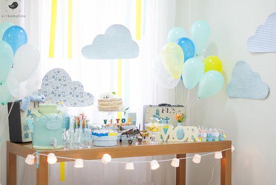 Chá de bebê de nuvens e aviozinhos