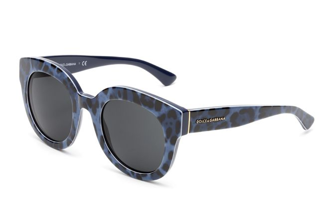 women's blue animalier glasses dg4235 with oversized round frame and Dolce & Gabbana logo on the temples. Visit D&G Eyewear website for more details.