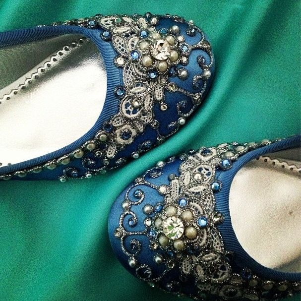 Cinderella's Slipper Bridal Ballet Flats Wedding Shoes - Any Size - Pick your own shoe color and crystal color. $185.00, via Etsy.