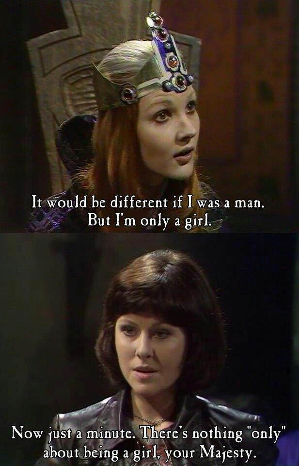 "Classic Who - Sarah Jane Smith: There's nothing ""only"" about being a girl."