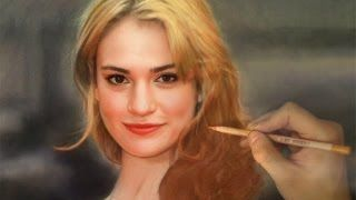 Drawing Cinderella / Lily James - Full Color Pastel - YouTube