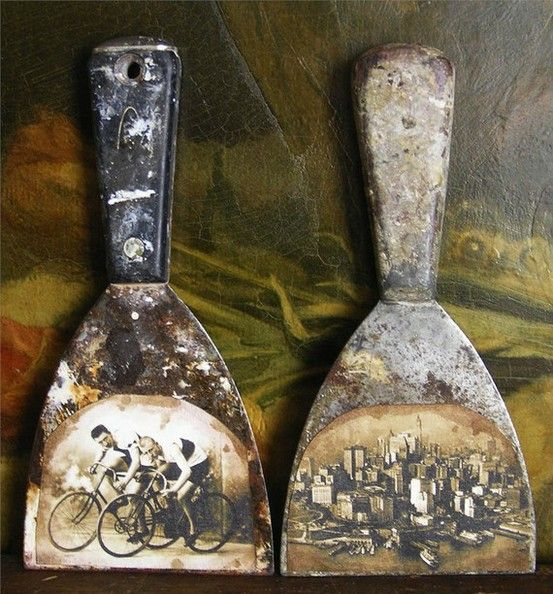 Got a couple of old trowels in the garage? Scan old photos (use iPhone or iPad + Pic Scanner app), print. Apply a thin layer of Mod Podge on the front of each trowel, all the way to the edges. Press a photo on wet coat, let dry for 5 min. Apply 3 thin coats of Mod Podge on photos, waiting 15 minutes between each coat. Once fully dry, hang with hooks. Photo & idea: urbanscrapbook.blogspot.ca. Click to learn more about Pic Scanner