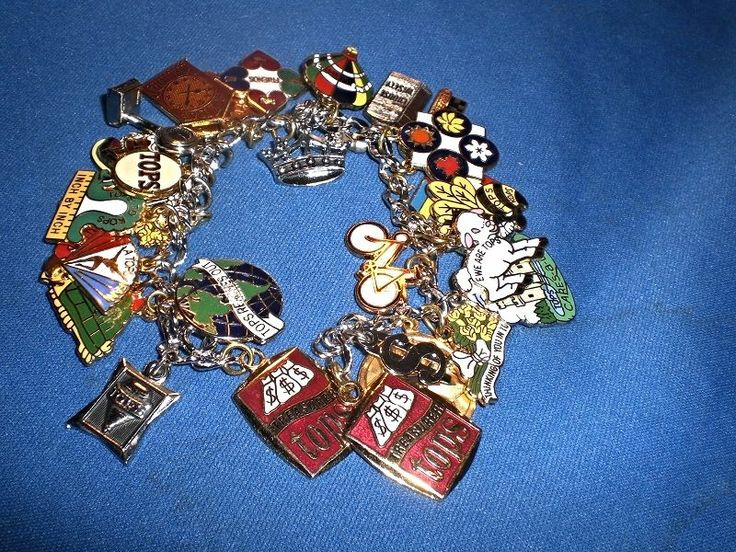 VINTAGE TOPS TAKING OFF POUNDS SENSIBLY WEIGHT LOSS CHARM BRACELET 29 CHARMS #TOPSWEIGHTLOSS #Traditional