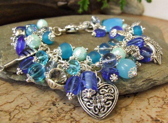 Water Elemental Pagan Charm Bracelet  Undines  by RavenshiresRealm