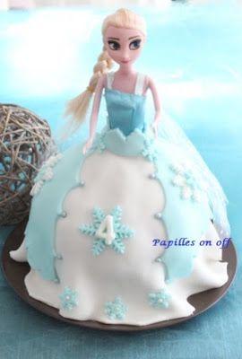 Papilles on/off: Gâteau poupée Elsa / Reine des Neiges (gâteau cara...
