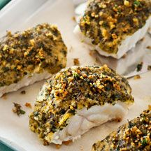 Chive and parsley herb-crusted fish