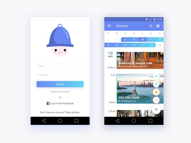 Login and Itinerary page for Trapp by Shuli Liu