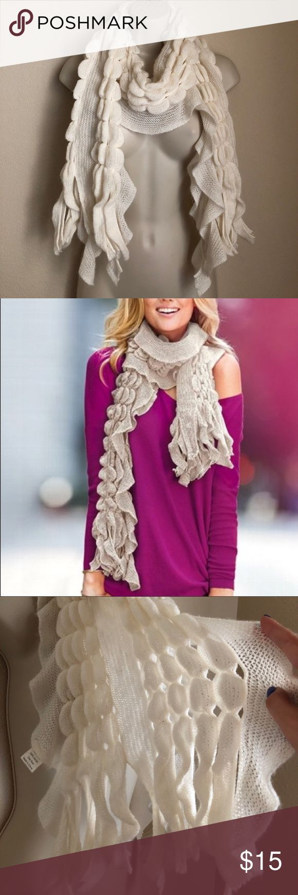 Victoria's Secret long knitted cream scarf Pre owned but in a great condition Victoria's Secret Accessories Scarves & Wraps