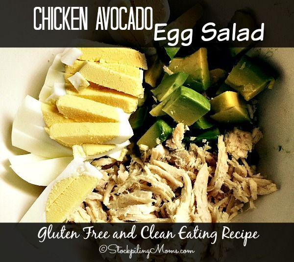 This healthy Chicken Avocado Egg Salad recipe is gluten free and clean eating with only 5 ingredients!   Only 5 minutes to make and it tastes amazing.