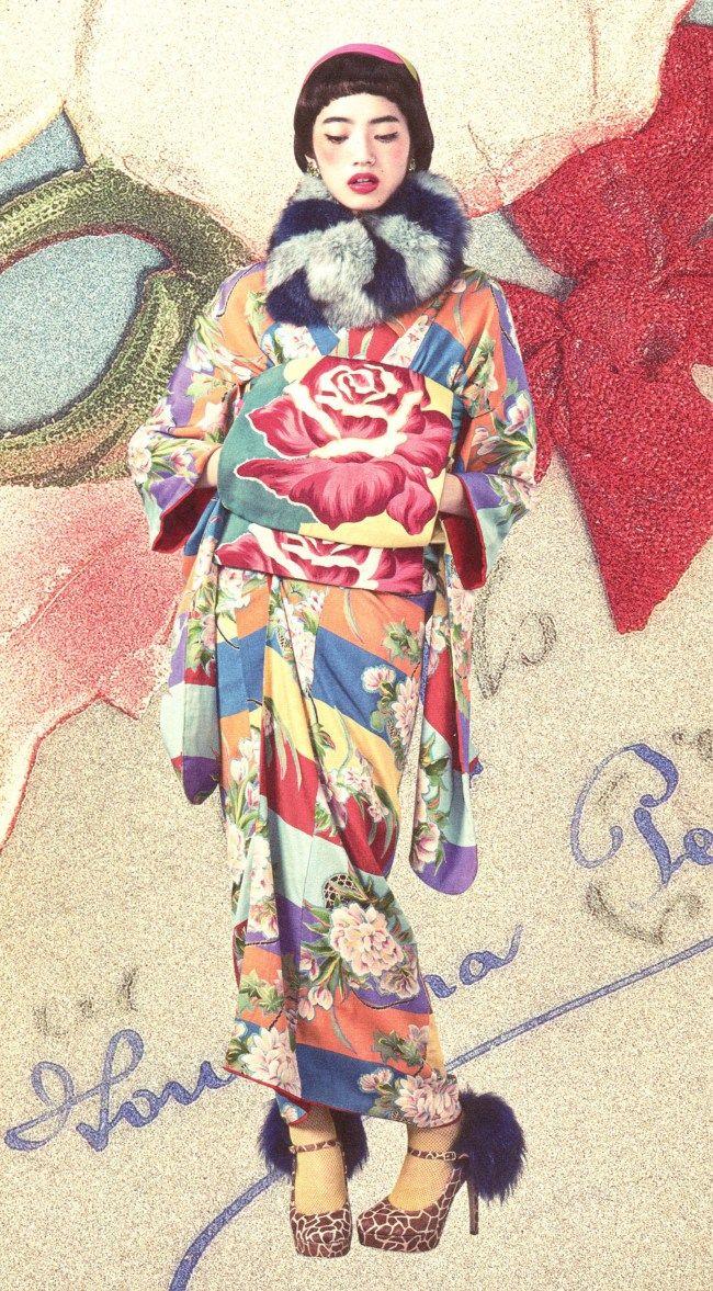 A true Kimono Princess uses every accessory – shoes, sox, purse, wrap, hat, gloves – http://jonellepatrick.me/2015/03/25/new-type-kimono-maximum-princess/