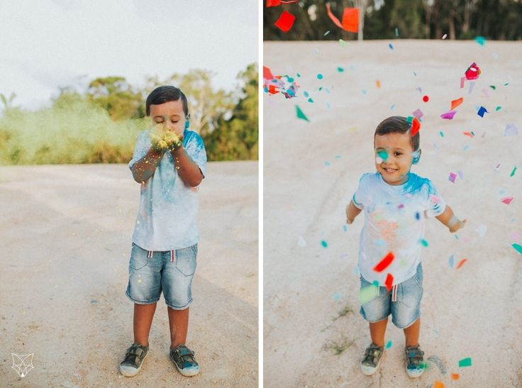 Maddy + Chris + Tyler | Fun colourful confetti + holi powder engagement session | White Fox Studios