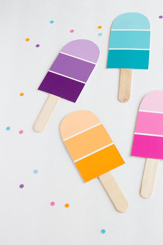 paintchip popsicles (paintchips are free! could convert to a garland, or use the larger paintchips for small handheld fans since you'll be outside) | so festive