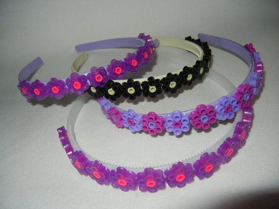 Pixel Flower Headband by heathersblossoms - I have not yet found a satisfactory glue that keeps these on the headband though
