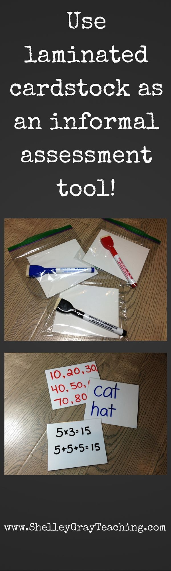 You can make mini-whiteboards out of white card stock and a laminator for a fraction of the cost of the usual individual mini-whiteboards. Use these before, during, and after teaching as an informal assessment tool. These work great for whole class assessment (to get a quick idea of who understands and who needs more time) or for small group assessment.