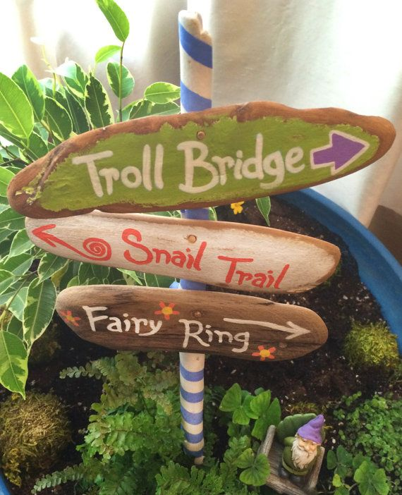 fairy garden signpost, miniature signpost, troll bridge, snail trail, fairy ring, miniature garden supplies