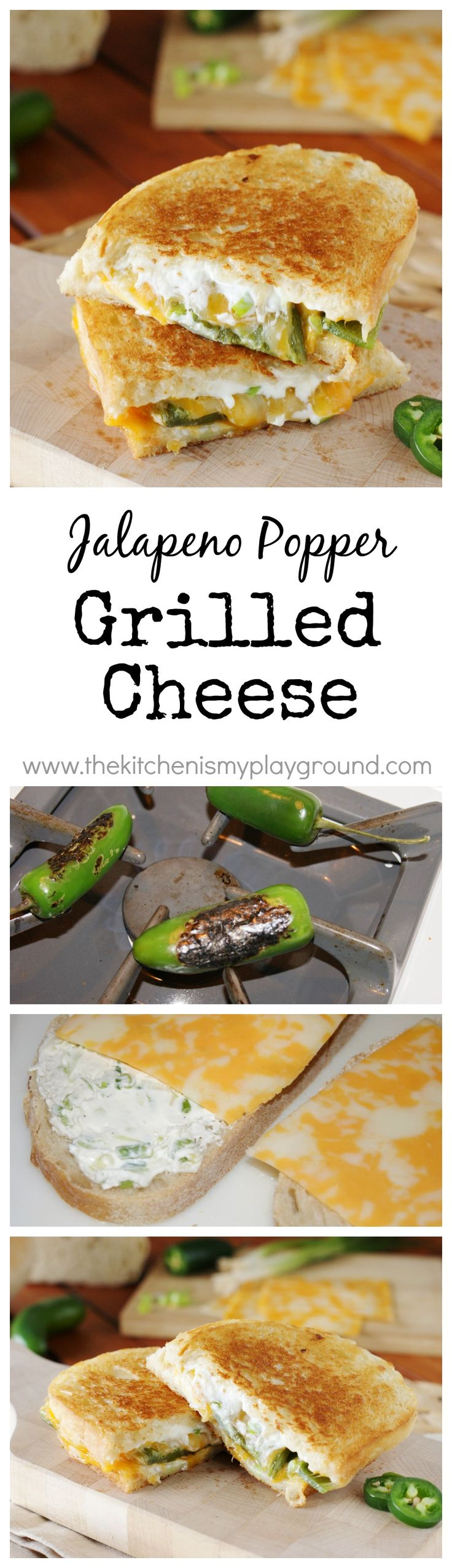Jalapeno Popper Grilled Cheese ~ it will be your new favorite grilled cheese! #Grilledcheese #jalapenopoppers www.thekitchenismyplayground.com