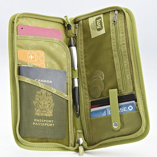 This travel wallet from Lug brand is awesome.  I traveled through 4 airports & 6 countries with this wallet; it helped to keep everything (passport, visas, credit cards, cash, etc.) readily available.  It comes in many colors.  *Mesh pocket for boarding pass, etc. *Zipper currency pocket *Mesh pocket for coins *Slim pocket for passports *Business card slots *Wrist strap **Open pocket on outside for your boarding pass, etc.