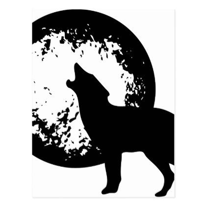 Wolf Howling at Moon Postcard - postcard post card postcards unique diy cyo customize personalize