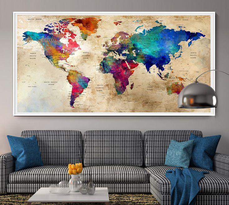Large World Map Wall Art Poster, World Map Wall Art,World Map Push Pin,Push Pin Map Art,World Map Art Print,World Map Watercolor Art,Travel - L93