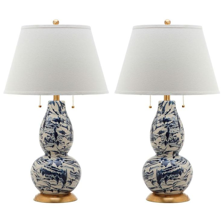 Navy and white swirls glass table lamp set of 2