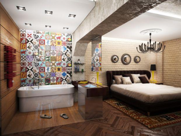 Лофт. Студия. Спальная зона. Открытая ванна. Цветная мозайка.