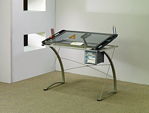 13 best drafting table images on pinterest drafting tables coaster desks artist drafting table desk gray finish glass top that tilts for drawing and reading contemporary and clean in design solid construction for malvernweather Gallery