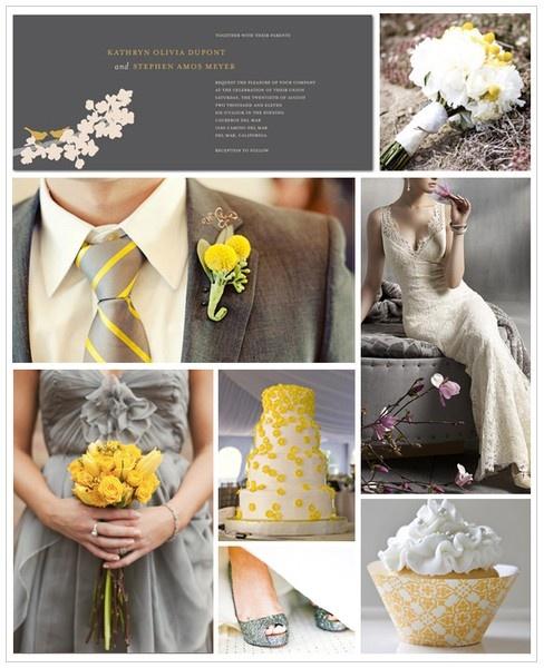 Grey and yellow wedding
