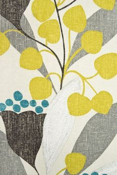 Want these colors & similar fabric for curtains!  Bellflower Fabric Medium weight Taupe cotton fabric with large playful contemporary leaf design in Chartreuse, Teal and Grey. Suitable for Curtains, Soft furnishings and General Domestic Upholstery.