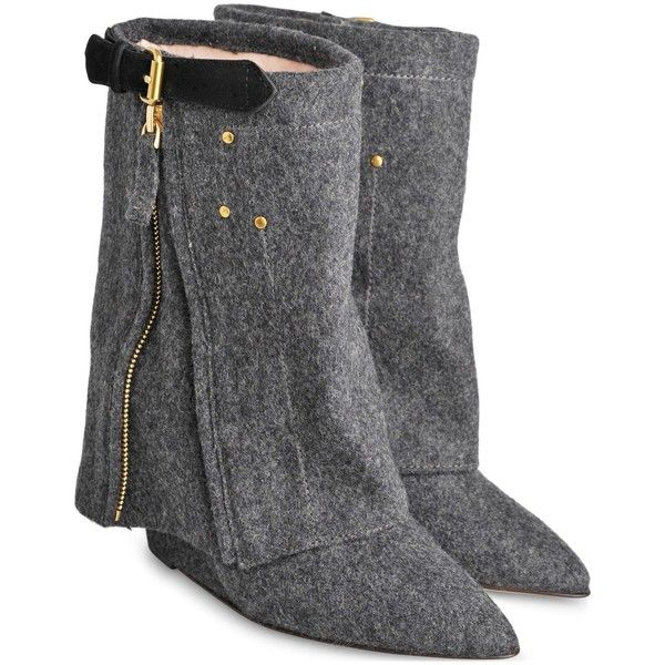 Jerome Dreyfuss Biboots flannel wedge boots (€825) ❤ liked on Polyvore featuring shoes, boots, dark greymelange, wedge heel boots, mid heel shoes, pointy toe boots, mid-heel boots and wedge heel shoes