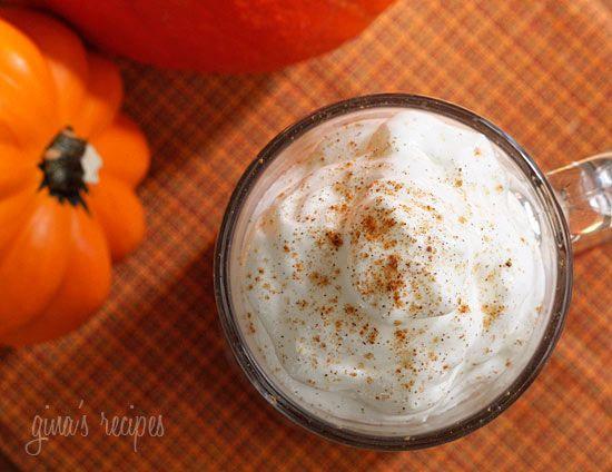 Skinny Pumpkin Spiced Latte  Gina's Skinny Recipes  Servings: 2 • Serving Size: 1 latte • Old Points: 2 pts • Points+: 3 pts  Calories: 115.6 • Fat: 0.4 g • Protein: 6.6 g • Carb: 20.8 g • Fiber: 0.7 g