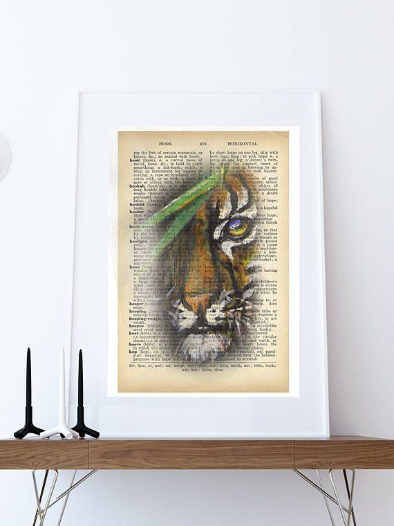 Tiger Art Print Paintings Print Dictionary Print Tiger