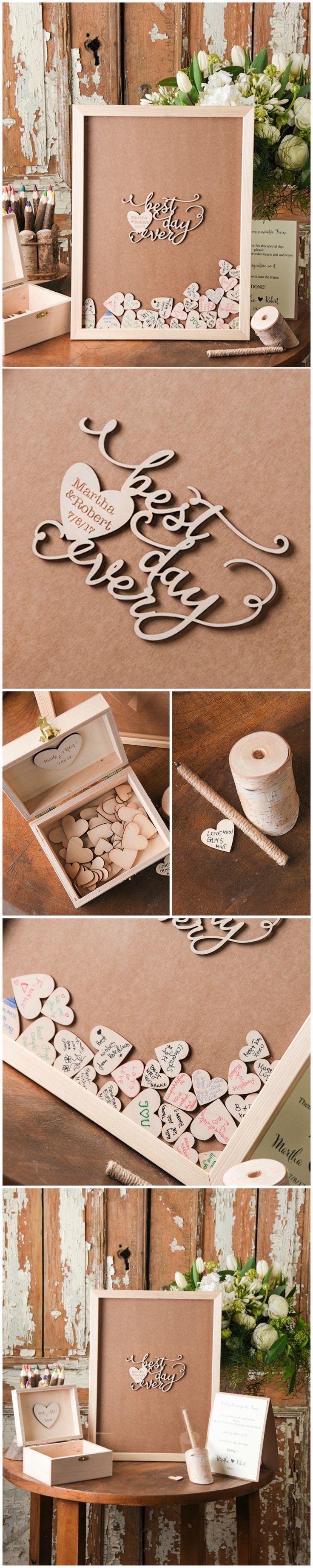 Best Day Ever ! Wooden Wedding Alternative Guest Book Frame #frame #guestbook #rustic #country #weddingideas #weddinggift #dropbox #unique #weddingframe