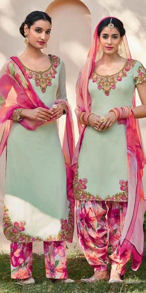 Fancy Green And Multi-Color Cotton Salwar Suit With Dupatta.
