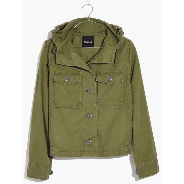 MADEWELL Cropped Anorak Jacket ($98) ❤ liked on Polyvore featuring outerwear, jackets, desert olive, cropped jacket, green military jackets, military anorak jacket, military jacket and olive green military jacket