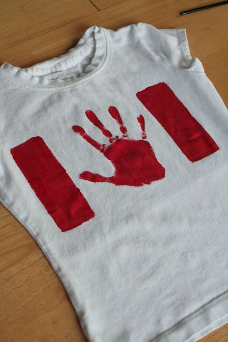 Canada Day party craft - do one each year to show the hand size difference. Save them all and make a throw for them in later years.