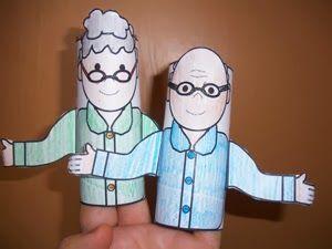 Δραστηριότητες, παιδαγωγικό και εποπτικό υλικό για το Νηπιαγωγείο: Παγκόσμια Ημέρα Τρίτης Ηλικίας: δακτυλόκουκλες με την γιαγιά και τον παππ...