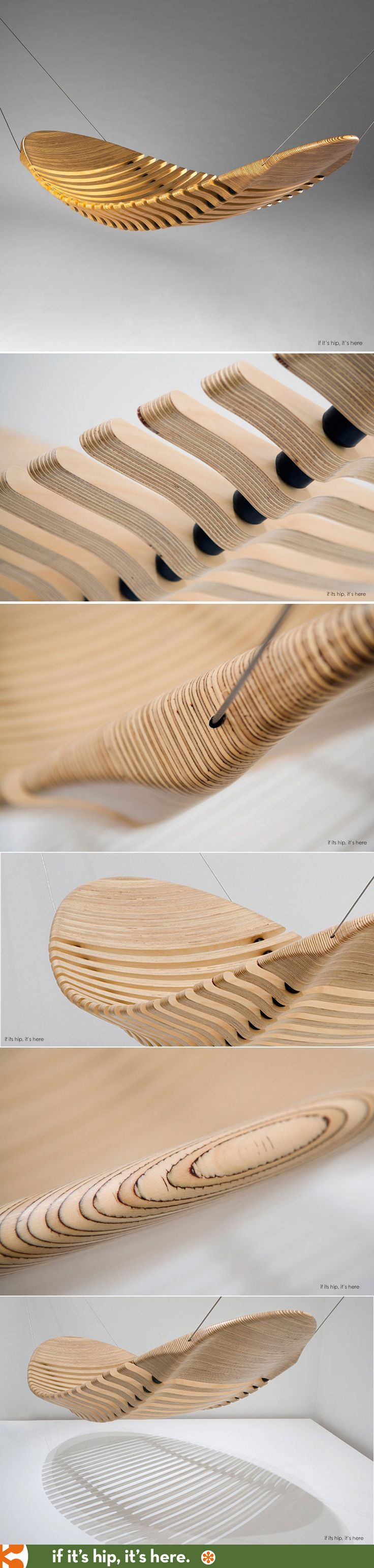The Wooden Hammock by Adam Cornish was inspired by the human spine and is flexible as a result of the rubber vertebrae. Gorgeous.