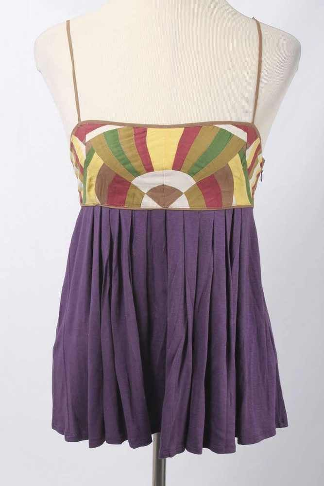 Catherine Malandrino Size M Purple Pleated Empire Waist Top 2109 T217  | eBay