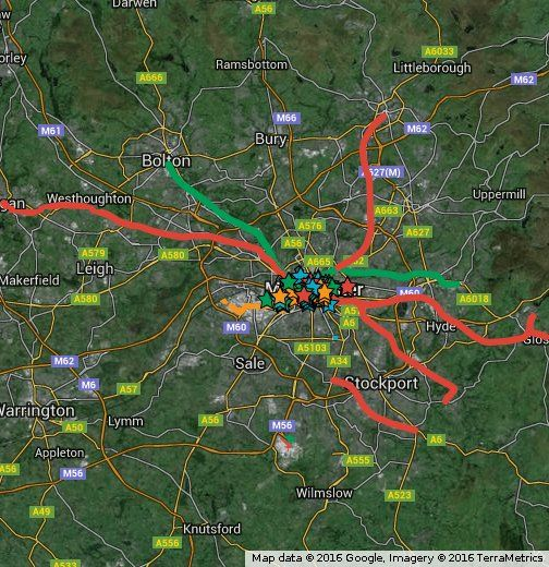 Map showing all developments currently under construction or proposed in the Manchester Area. Green = Under Construction currently Blue = Approved projects or just about to begin Orange = Projects holding planning applications Red = Proposals without planning apps