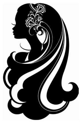 silueta mujer de perfil con melena