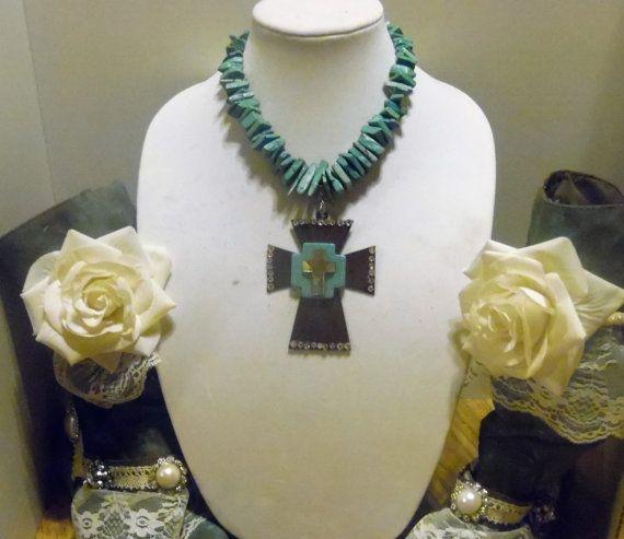 Gypsy Cowgirl Chic XL Turquoise Metal Cross by gypsycowgirlchic