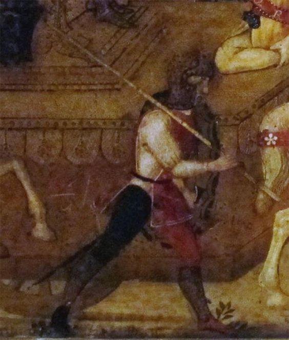 https://flic.kr/p/oXzoaN | Cassone Medici-Rucellai | 1466 Paolo Uccello  dettaglio Fante della famiglia dei Medici armato alla leggera con lancia e spada e protetto con scudo ovale,. Interessante la pittura all'interno dello scudo. In questo caso è presente anche una giornea/surcotto.: