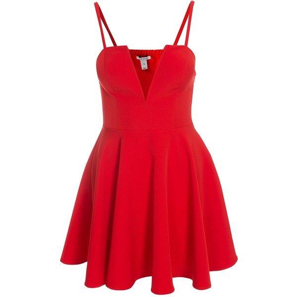 Nly One Flirty Flare Dress ($51) ❤ liked on Polyvore featuring dresses, tall dresses, skater dress, deep v neck dress, red cocktail dress and deep v neckline dress