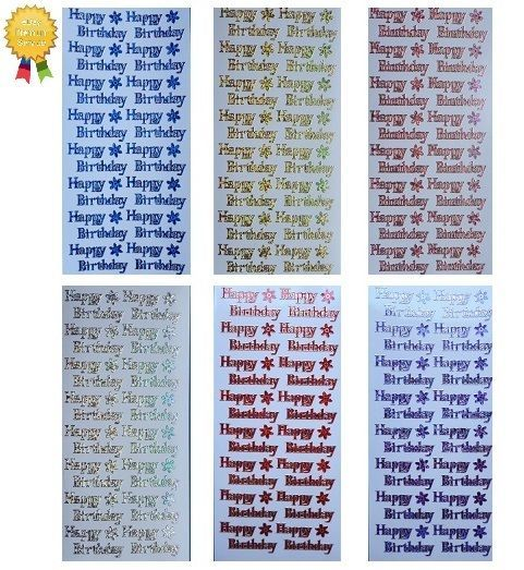 Peel Off Stickers *HAPPY BIRTHDAY* Metallic Shimmer - Flowers - Peel offs