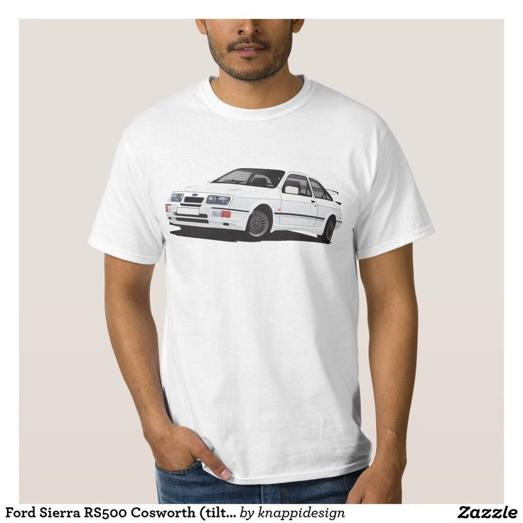 Ford Sierra RS Cosworth (tilted) T-shirts  #ford #sierra #rs #rs500 #cosworth #automobile #car #tshirt #fordsierra #80s #zazzle