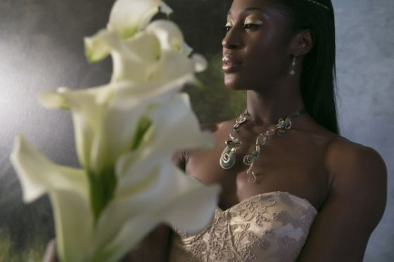 Nikos Gogas - Grace by Nu Bride Bouquet by Essential Couture #blackbride #brideofcolour #lilybouquet