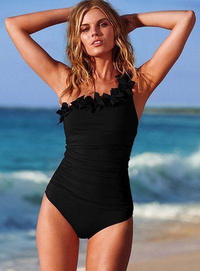 2014 new vintage sexy push up one piece swimsuit swimwear swim bathing suit  Women red/black triangle bikini large size S-XXXL  $16