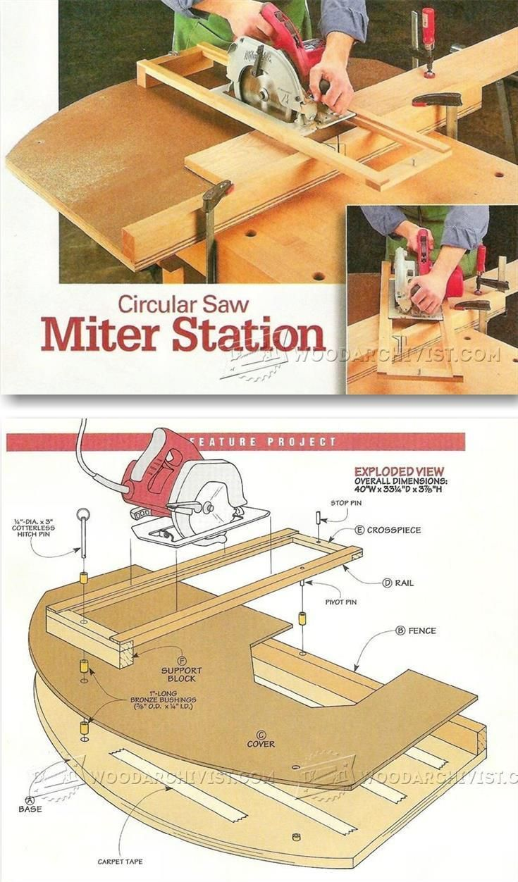 Circular Saw Crosscut and Miter Jig - Circular Saw Tips, Jigs and Fixtures | WoodArchivist.com