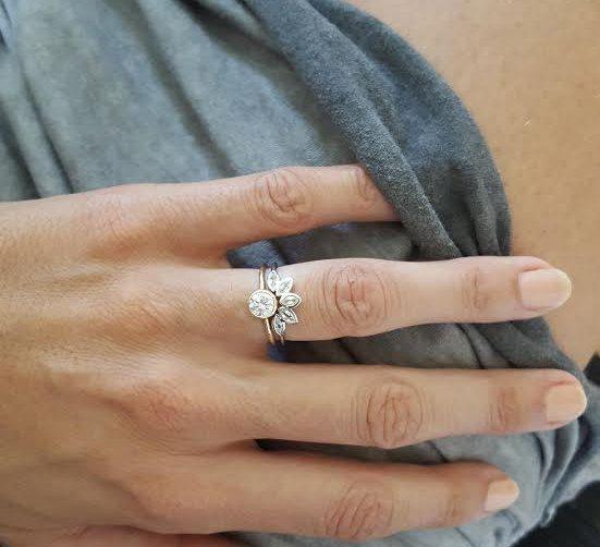 Diamond Set Diamond Wedding Ring Set Diamond by MinimalVS on Etsy